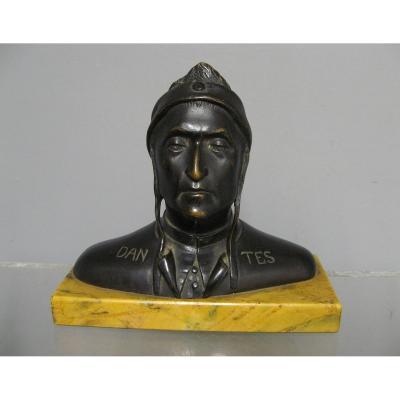 19th Century Bronze. Bust Of Dantes Alighieri.