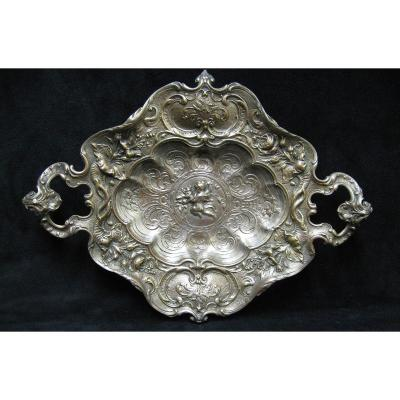 Especially, Rocaille Style Presentation Dish In Silver Bronze Late Nineteenth.