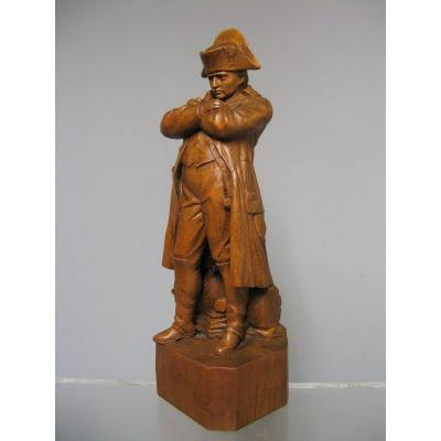 Statuette In Carved Wood. Emperor Napoleon I On Foot.