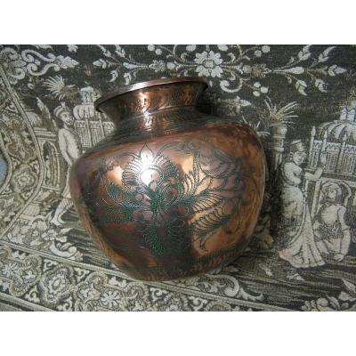 Kalash Pot In Chiseled Copper Ceremonial Ritual India 19th.