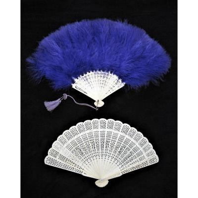 XIXth Century Fans, Ostrich Bone And Feathers.