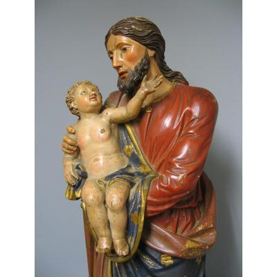 Sculpture Saint Joseph Avec l'Enfant Jésus.
