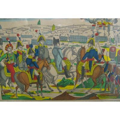 Gravure Imagerie D'Épinal, Napoléon Bataille d'Iéna, Fabrique Pellerin XIXe.
