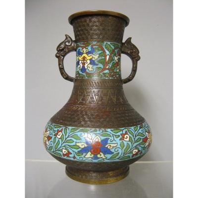 Vase In Bronze And Enamels Cloisonné Japan 19th Century.