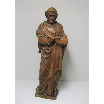 Saint In Carved Wood Late 18th Century.