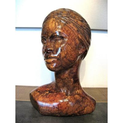 Bust Of Young Woman In Turban Signed Sylvie Montagnon.