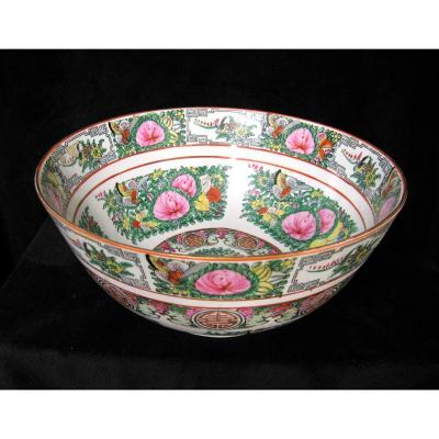 Large Chinese Porcelain Punch Bowl.