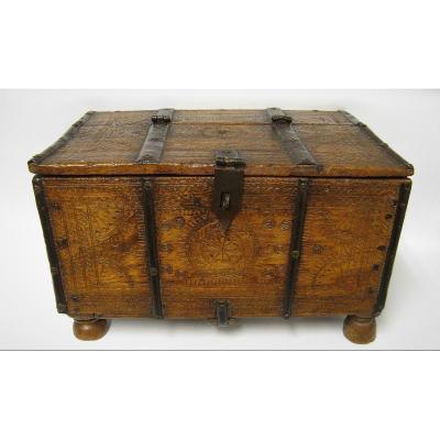 Carved Wood Wedding Box. Nineteenth India.