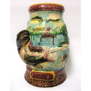 Usa 1949 Salmon Fishing Trophy. Majolica. Majolica.