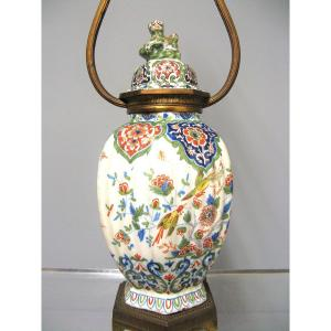 Pot Covered In Faience From Desvres Mounted In Lamp.