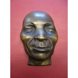 Masque En Bronze Signé F. Bounoil. Presse Papier De Bureau Circa 50.