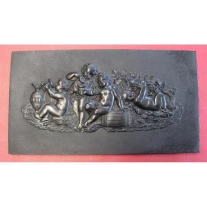 Sculpture Bas-reliefs ébonite Bacchus Napoléon III XIXe.