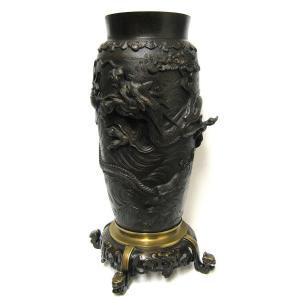 Potiche Au Dragon En Bronze Du XIXe. Art d'asie.