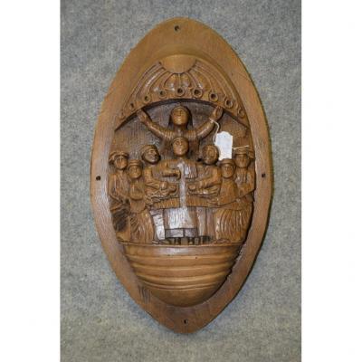 Bas-relief En Bois monoxyle Sculpté, Scène Religieuse, Bible, Art Populaire