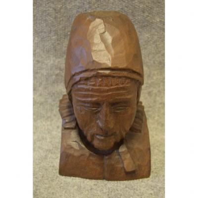 Buste De Femme Bretonne En Bois Monoxyle Sculpté, Bretagne, Art Populaire