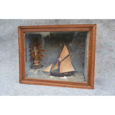 Marine Ex-voto Diorama, Sailor Work, Ship Model, Folk Art