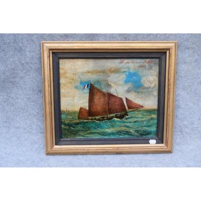 Huile Sur Panneau Marine Signée J. Hëldé, art populaire, bateau