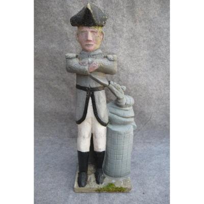 """Statue, décoration de jardin en ciment polychrome  """"Napoleon"""", art populaire, art brut"""