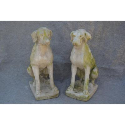 Pair Of Reconstituted Stone Dogs