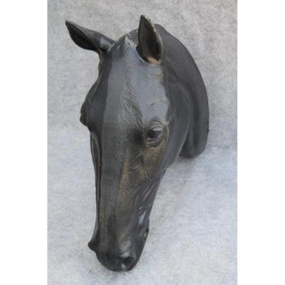 """Tête de cheval """"présentoir de bourelier"""", art populaire"""