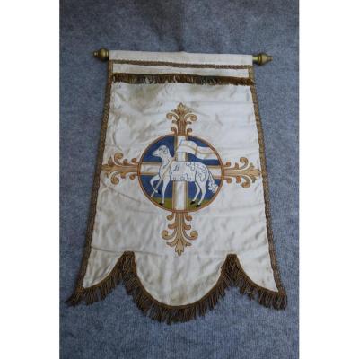 Bannière De Procession Brodée d'Un Agneau Pascal, Broderie-tissu Liturgique, Objet Religieux