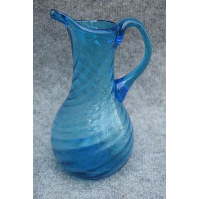 Pichet Normand à Cidre En Verre Souflé Bleu Du 18ème Siecle, Art Populaire