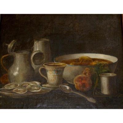 Déjeuner aux  huitres et soupe de fruits