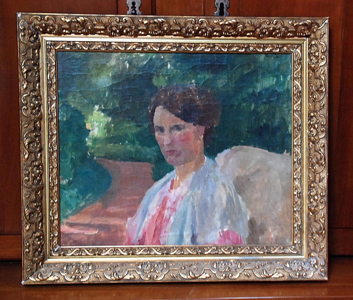 Tableaux, Ernest QUOST (attribué à) Huile sur toile dans un encadrement en bois doré