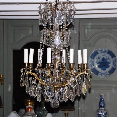 Crystal Chandelier & Bronze Louis XIV Style - 8l -