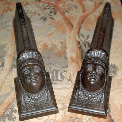 Pair Of Cast Iron Iron Chenets - Restoration Period.