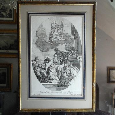Veronese : gravure XVIIème  : Assomption de la Vierge