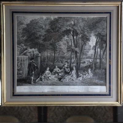 Gravure XVIIIème: '' Les Champs Elysées ''