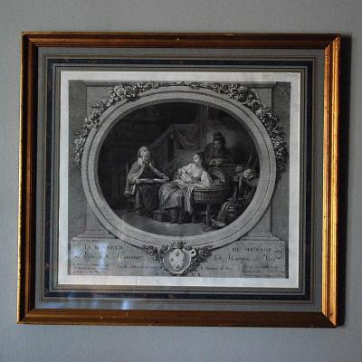 18th Century Engraving: `` The Happiness Of The Household ''