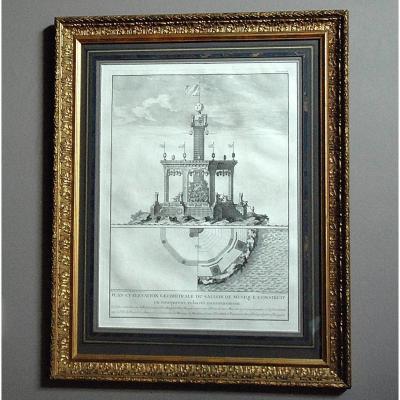 Gravure : Plan et élévation du salon de musique à Paris en 1739