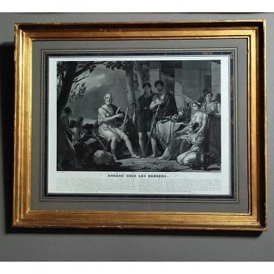 Gravure XIXème  : '' Homère chez les bergers ''