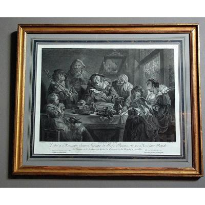 18th Century Engraving: `` Recreation At The Table ''