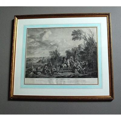 Gravure XVIIIème: ''alte de chasseurs  ''