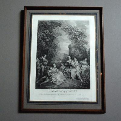 Gravure XIXème : '' Conversation Galante  ''
