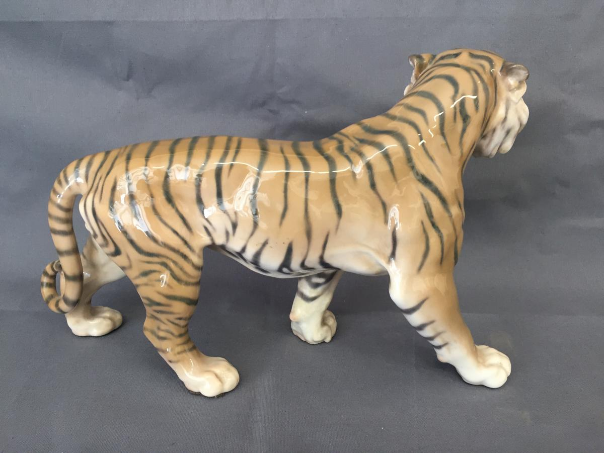 Tigre En Porecelaine De Copenhague Tiger Royal Copenhagen porcelaines anciennes # Royal Bois Colombes