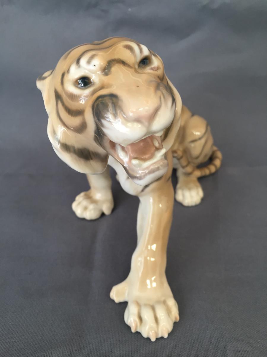 Tigre Porcelaine Copenhague Tiger Royal Copenhagen porcelaines anciennes # Royal Bois Colombes