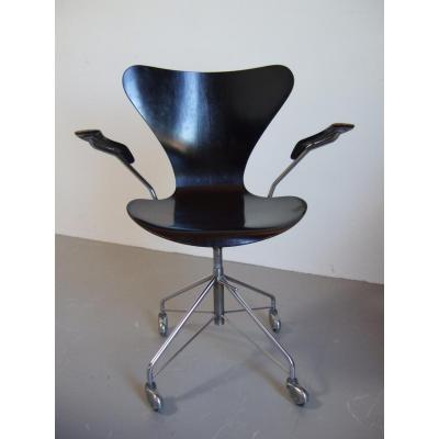 Chaise De Bureau 3217 Par Arne Jacobsen Pour Fritz Hansen, 1963