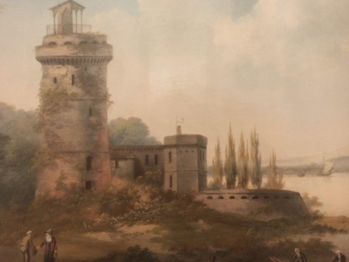 Très Beau Paysage Au Pastel D époque fin XVIII E-photo-4