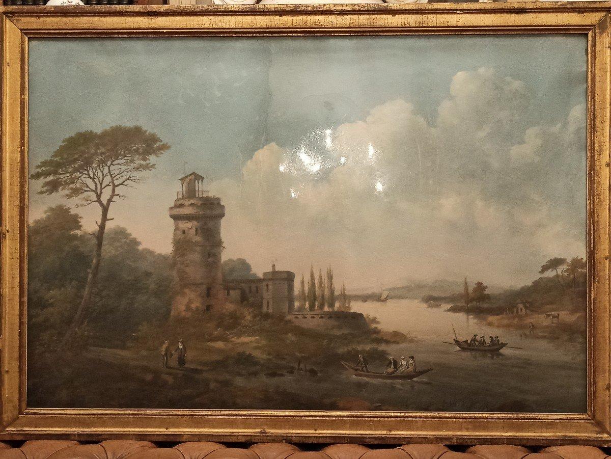 Très Beau Paysage Au Pastel D époque fin XVIII E