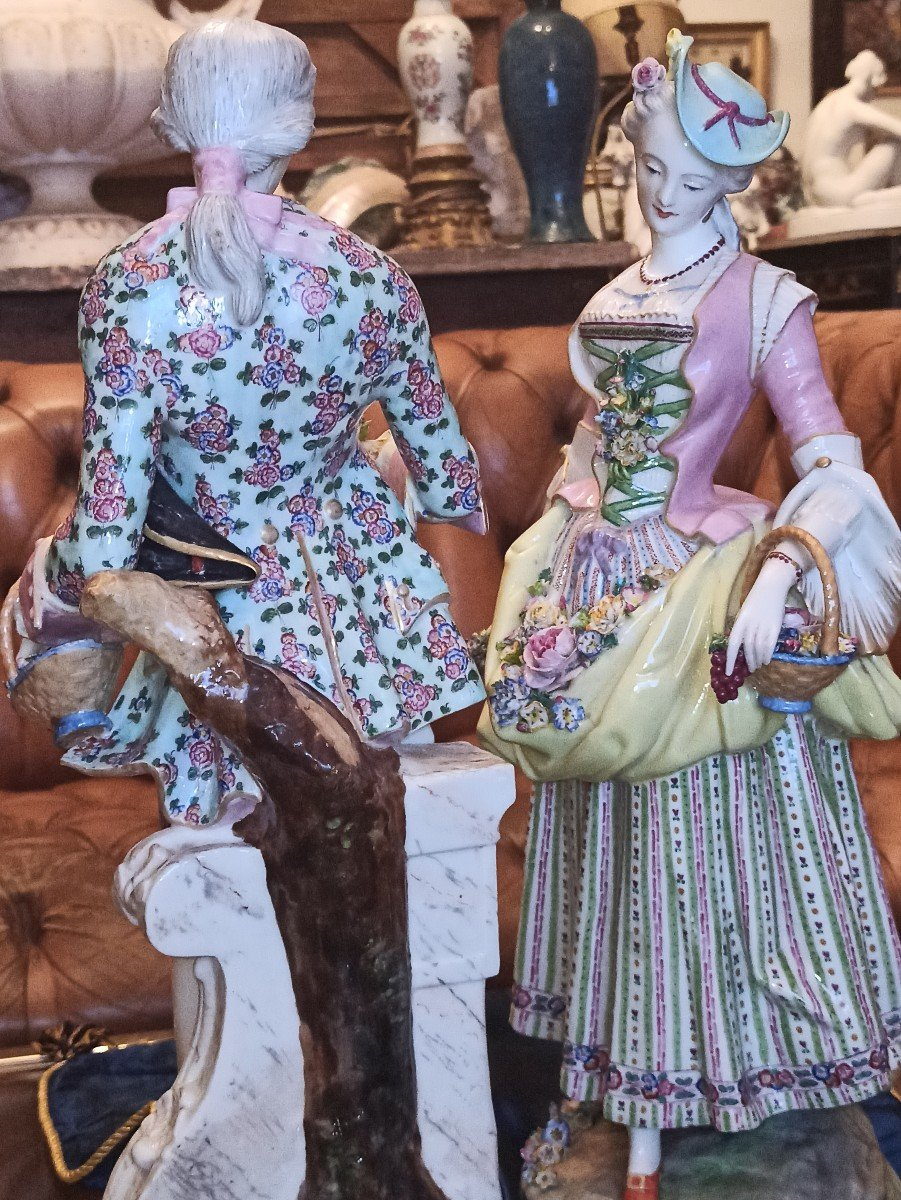 Pair Of Meissen Porcelain Sculptures D Eighteenth Time-photo-6