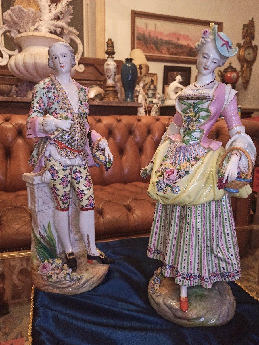 Pair Of Meissen Porcelain Sculptures D Eighteenth Time