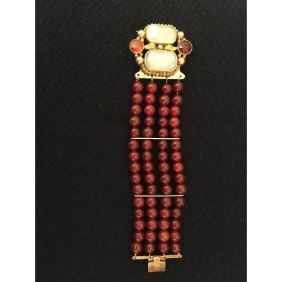 Bracelet Cornaline Et Agathe Blanche