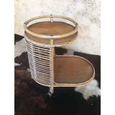 Rolling Rattan Serving Table