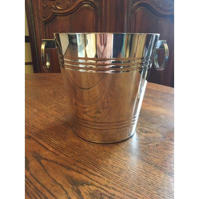 Modernist Style Silver Metal Champagne Bucket