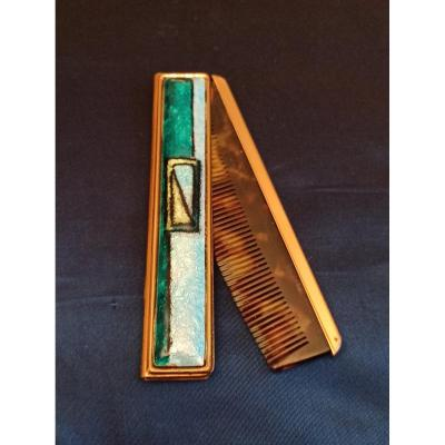 Bag Comb In A Limoges Email Case Around 1950