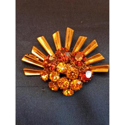 Rhinestone And Gold Metal Brooch In Art Deco Style